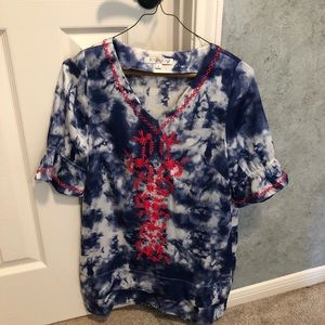 JoyJoy tie dye top with embroidered detail